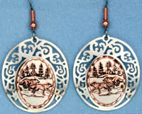 Copper Earrings - Running Wolves