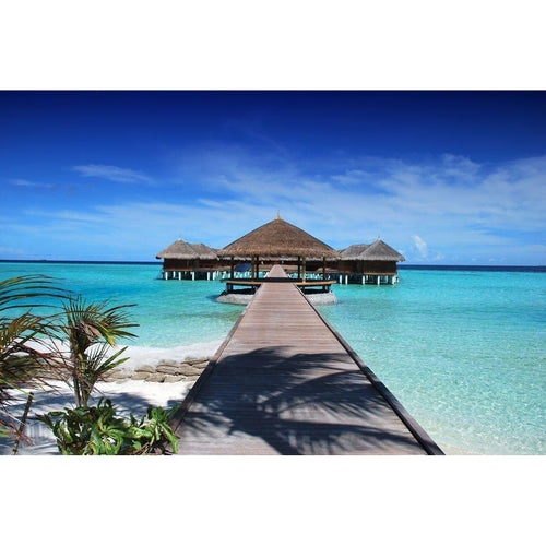Maldive Jetty Beach Huts Wall Mural - Premium-Creative Wallpaper