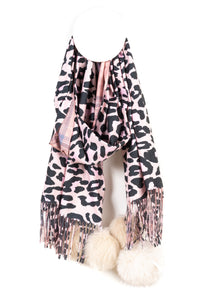 Leopard Scarf with Pompoms - Tom & Eva