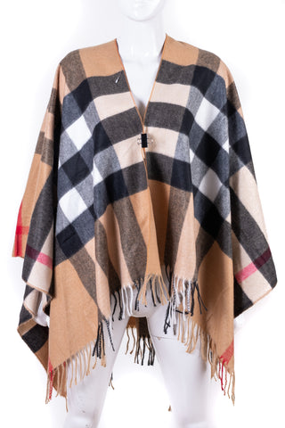 Fringed Plaid Poncho - Tom & Eva