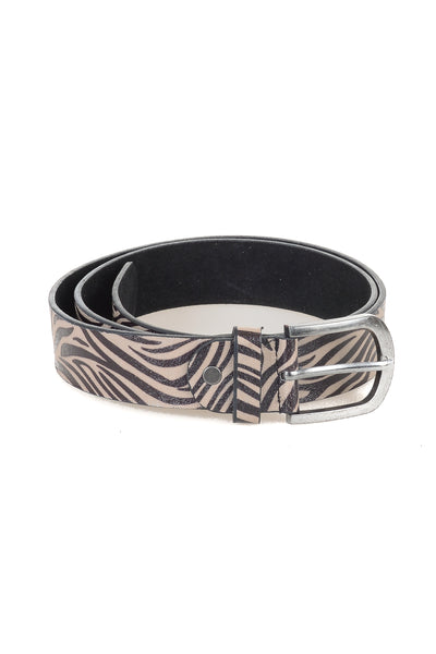 Zebra Print Leather Belt - Tom & Eva