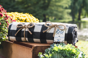 The Black & White Check Beantown Blanket