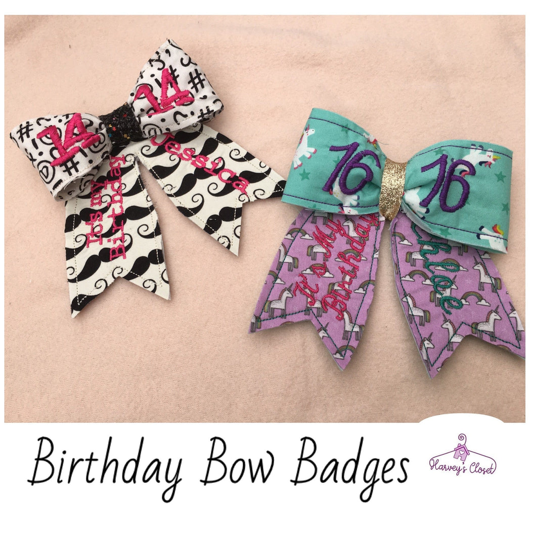 Birthday bow badge HarveysToy Shed