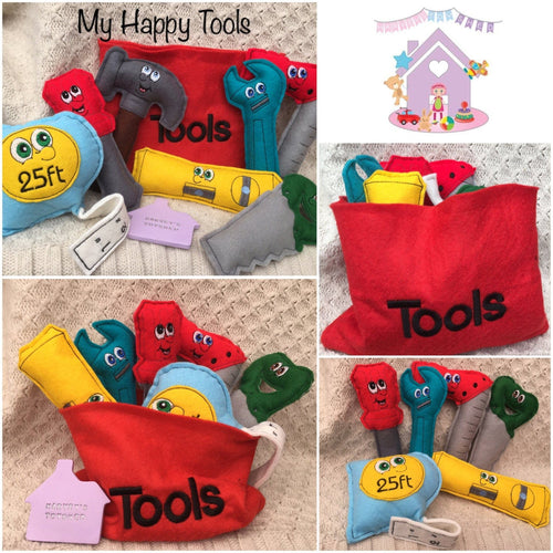 Set Of Happy Tools With Personalised Bag - HarveysToyShed