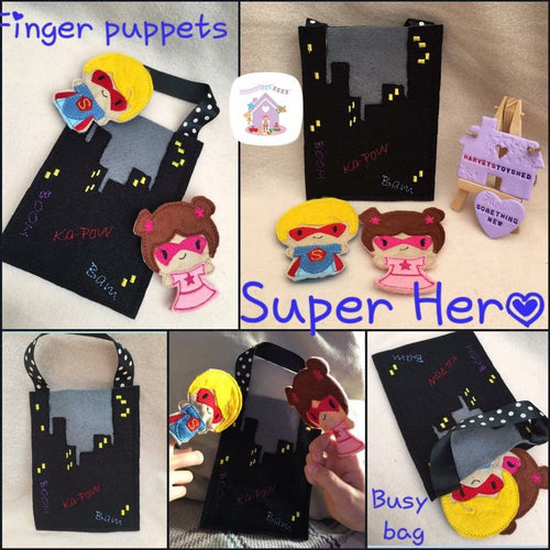 Super Hero Busy Bag with Finger Puppets - HarveysToyShed