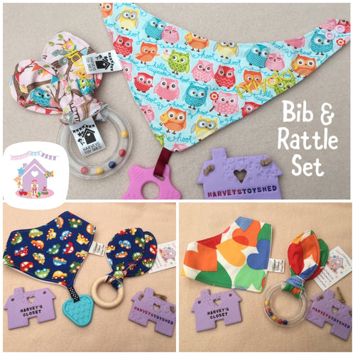 Bib and Rattle Gift Set - HarveysToyShed