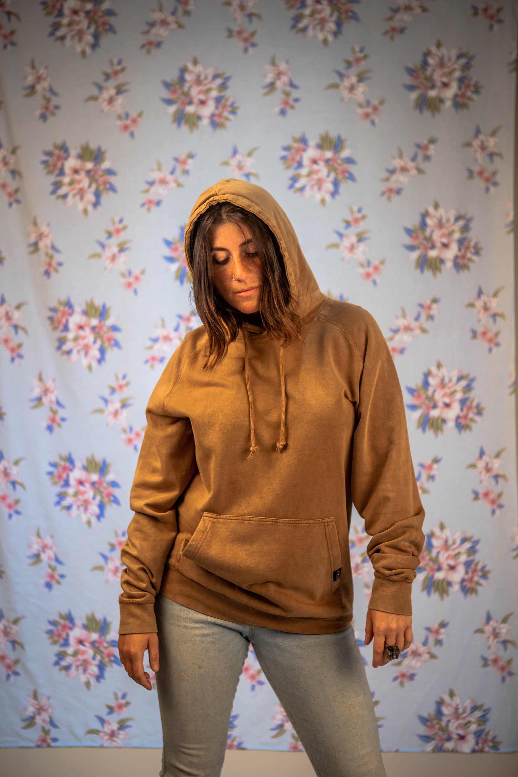 old-fashioned hoodie in vintage camel