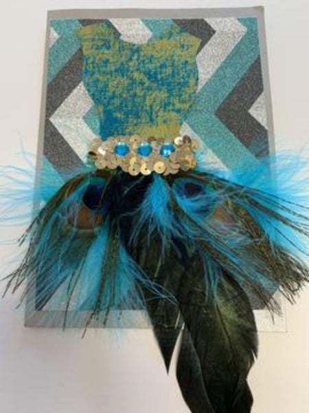 'Dress For Success' Feather Dress Card