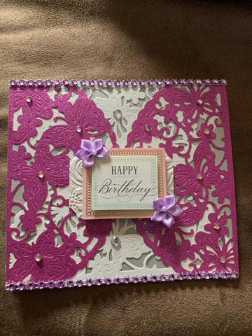 Beautiful Lacy Wing Card Purple & Silver