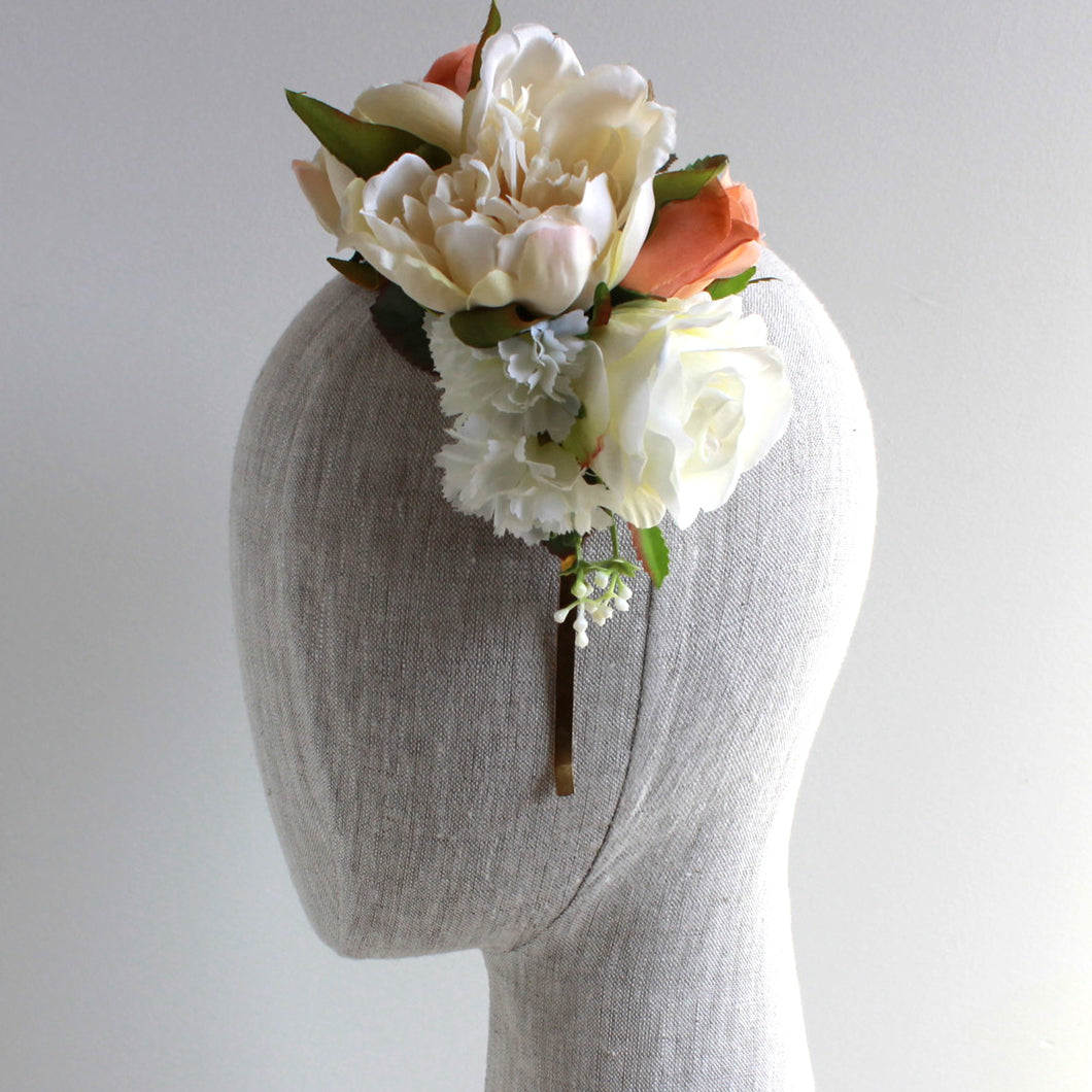 girl with reversible floral headband, white and rose color, perfect for spring racing or a hens party