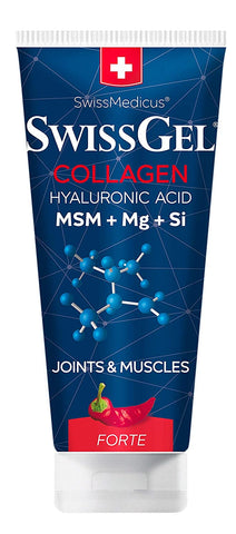 SwissGel with Collagen Warming, Hyaluronic Acid, MSM, Magnesium, Bioactive Silicon from Horsetail Extract - 7 Oz. (200g), Pain Relief Gel for Inflammation, Muscle, Joint, Back, Knee & Arthritis Pain