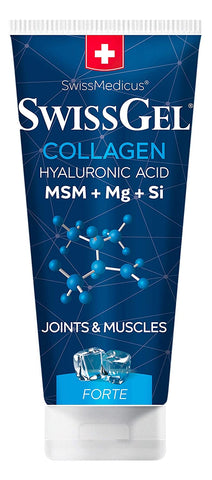 SwissGel with Collagen Cooling, Hyaluronic Acid, MSM, Magnesium, Bioactive Silicon from Horsetail Extract - 7 oz (200g), Pain Relief Gel for Inflammation, Muscle, Joint, Back, Knee & Arthritis Pain