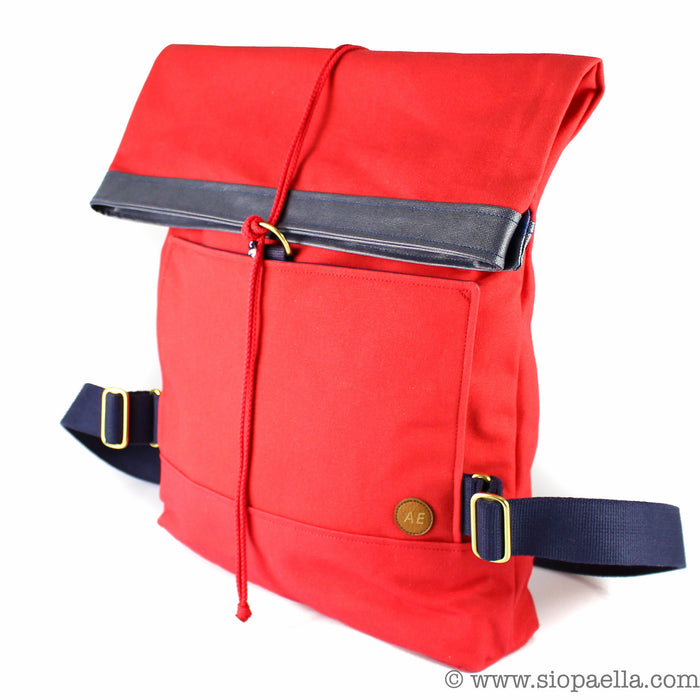 Atlantic Equipment Red Canvas Roll Top Backpack