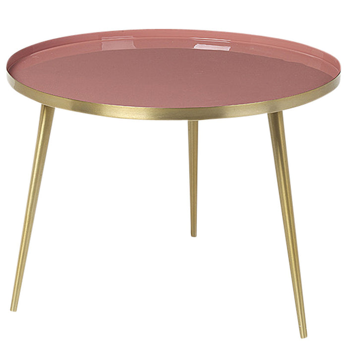 """Jelva"" Brass & Rose Dawn Side Table"