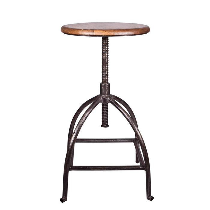 """Sire"" Mango wood & iron adjustable stool"