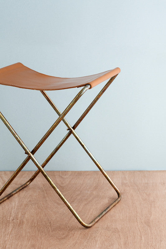 """Nola"" Leather & Copper Folding Stool"