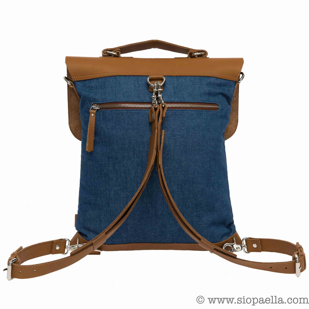Enter Messenger Tote Backpack in Denim and Tan Leather