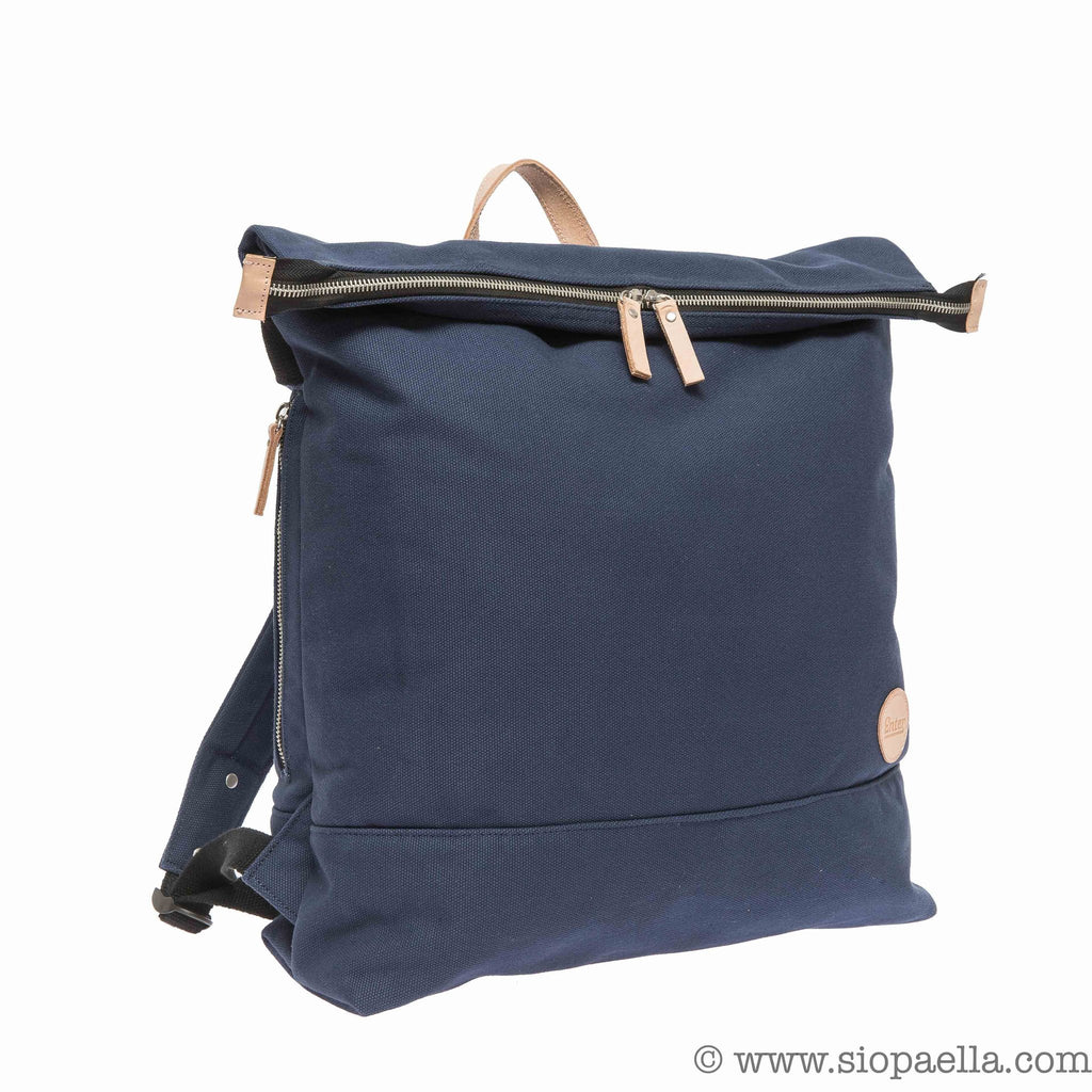 Enter Zip Top Backpack with Leather Detailing