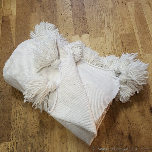 Moroccan White Pom Pom Throw
