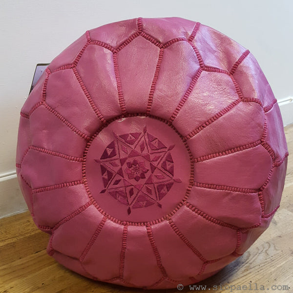 Moroccan Pink Leather Pouffe - Large