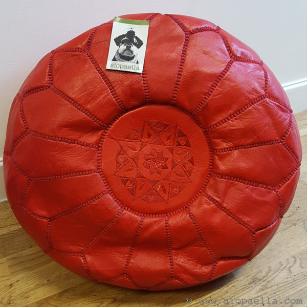 Moroccan Red Leather Pouffe - Large