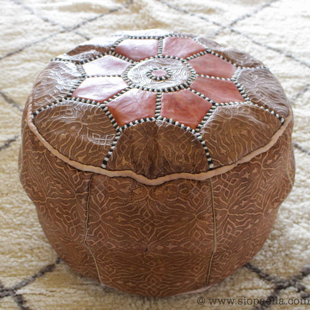 Moroccan Tan with Orange Leather Hand Stitched Pouffe