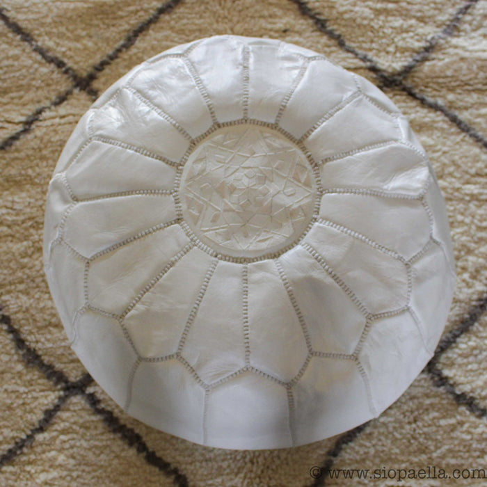 Moroccan White Leather Hand Stitched Pouffe