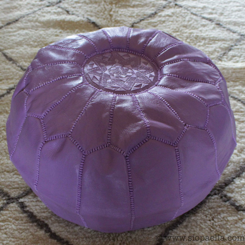 Moroccan Lilac Leather Hand Stitched Pouffe