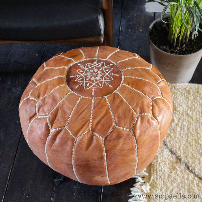 Moroccan Tan Leather Hand Stitched Pouffe