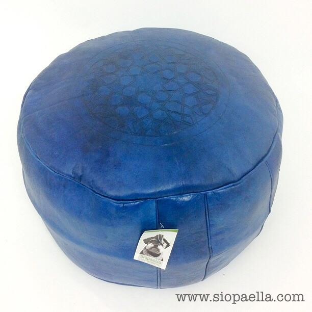 Moroccan Navy Leather Pouffe - Large