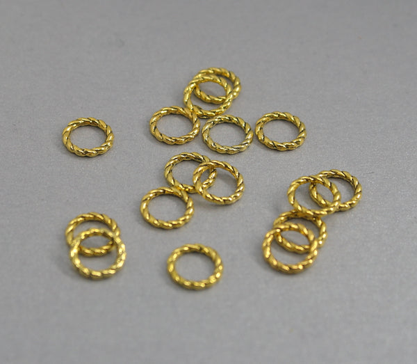 Simple Solid Snag-Free Mini Gold Twist Ring Stitch Markers for Knitting