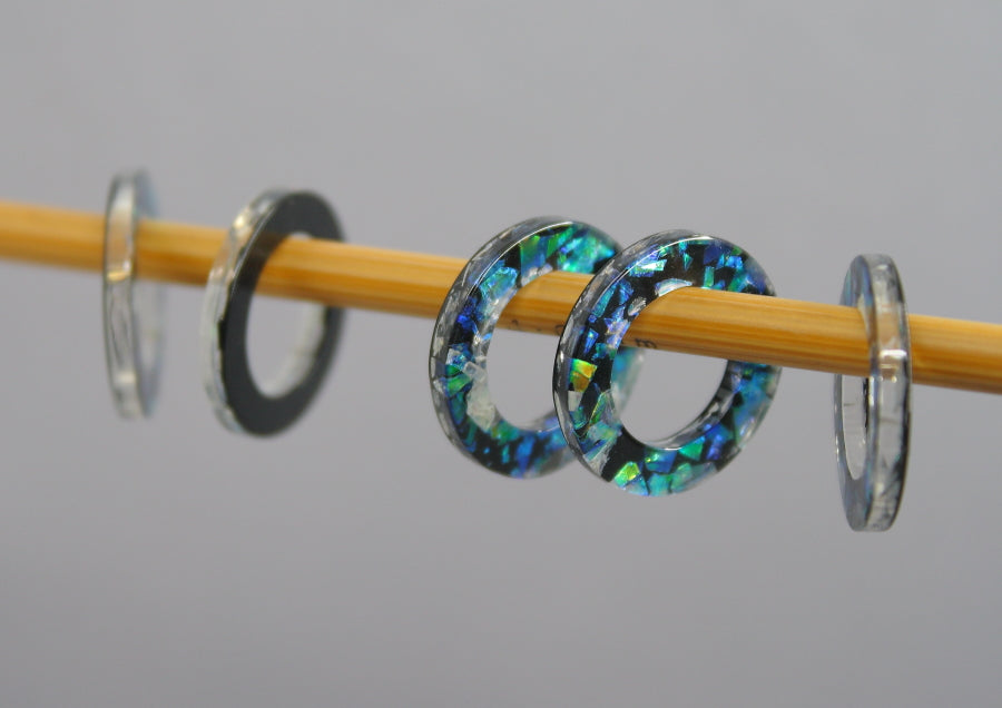 Simple Solid Snag-Free Glitter Resin Ring Stitch Markers for Knitting