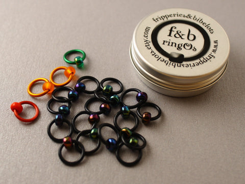 ringOs Traffic Light Lace - Black - Snag-Free Ring Stitch Markers for Knitting