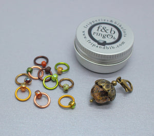 ringOs Acorns ~ Autumn/Fall Limited Edition Snag Free Ring Stitch Markers for Knitting