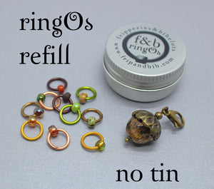 ringOs REFILL ~ Acorns ~ Autumn/Fall Limited Edition Snag Free Ring Stitch Markers for Knitting