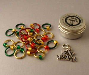 Christmas ringOs XL ~ Advent Calendar ~ Limited Edition Snag Free Ring Stitch Markers for Knitting