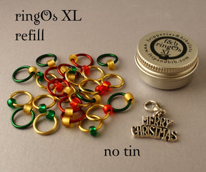 Christmas ringOs XL REFILL ~ Advent Calendar ~ Limited Edition Snag Free Ring Stitch Markers for Knitting