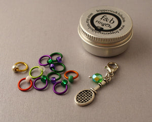 ringOs Anyone For Tennis? ~ LIMITED EDITION ~ Snag Free Ring Stitch Markers for Knitting