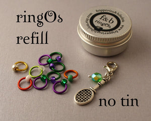 ringOs REFILL ~ Anyone For Tennis? LIMITED EDITION ~ Snag Free Ring Stitch Markers for Knitting