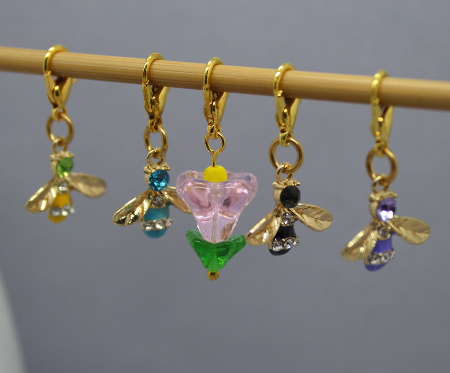 Like Bees To A Flower Stitch Markers for Knitting and Crochet