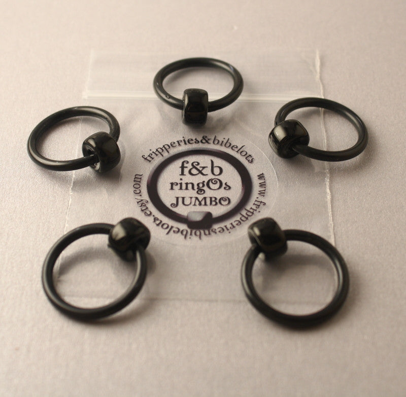 ringOs JUMBO Black - Snag-Free Ring Stitch Markers for Knitting