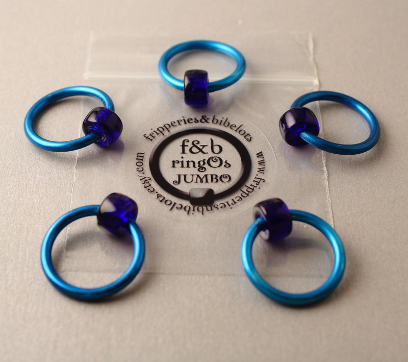 ringOs JUMBO Blue - Snag-Free Ring Stitch Markers for Knitting