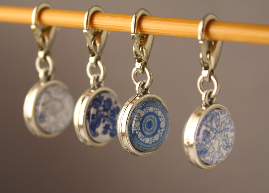 Blue and White China Pattern Stitch Markers for Crochet