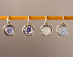 Blue & White China Pattern Stitch Markers for Knitting and Crochet