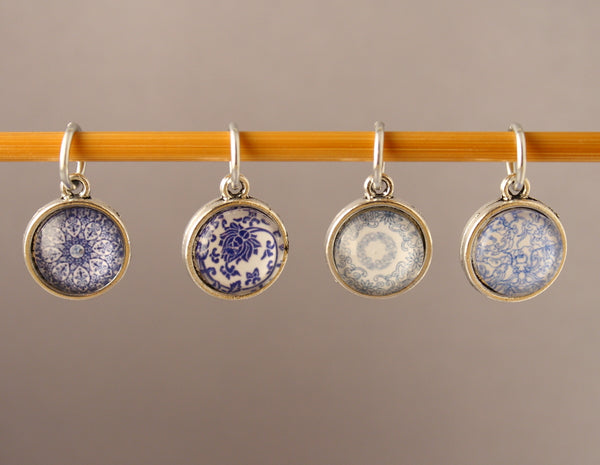 Blue & White China Pattern Stitch Markers for Knitting