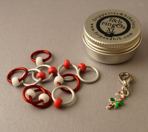 Christmas ringOs XL ~ Candy Cane ~ Limited Edition Snag Free Ring Stitch Markers for Knitting