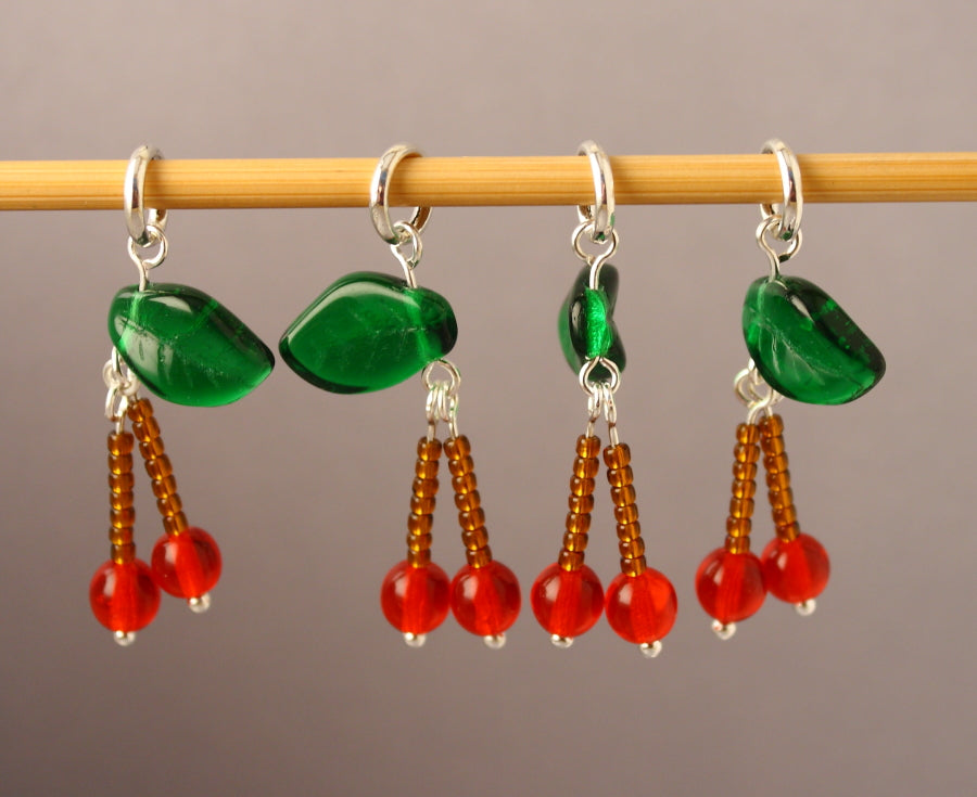 Cherry Bomb Stitch Markers for Knitting