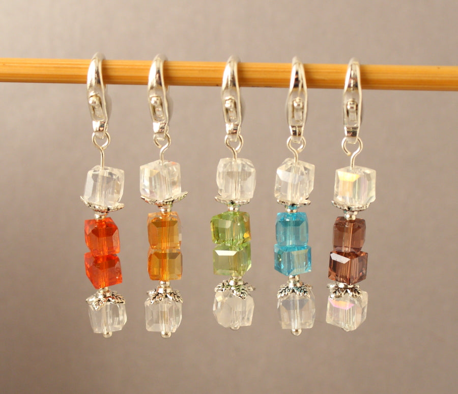 Crystal Christmas Cracker Stitch Markers for Crochet