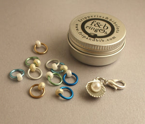 ringOs Diving for Pearls ~ SUMMER LIMITED EDITION ~ Snag Free Ring Stitch Markers for Knitting