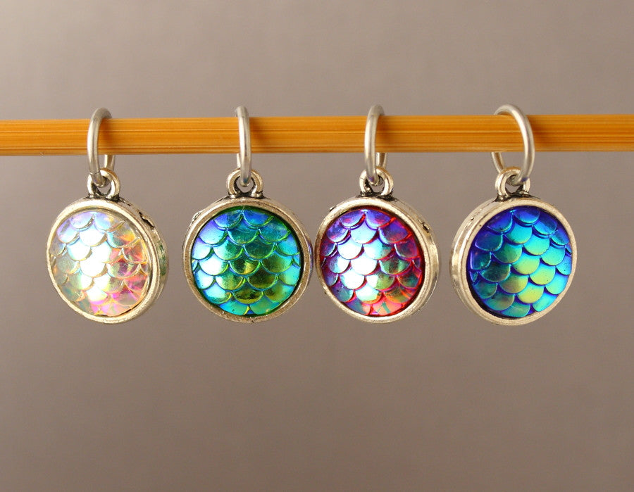 Dragon & Mermaid Scales Stitch Markers for Crochet